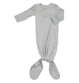 Angel Dear Grey Stripe Hippo Knotted Gown 0-3M