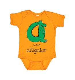 Poseys Alphabet Alligator Onesie - Orange