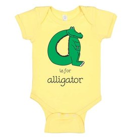Poseys Alphabet Alligator Onesie - Yellow
