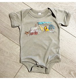 Two Sprouts Zoo Onesie - Heather Stone