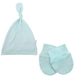 Kyte Baby Kyte Baby Bamboo Knotted Cap and Scratch Mitt Bundle - Seafoam