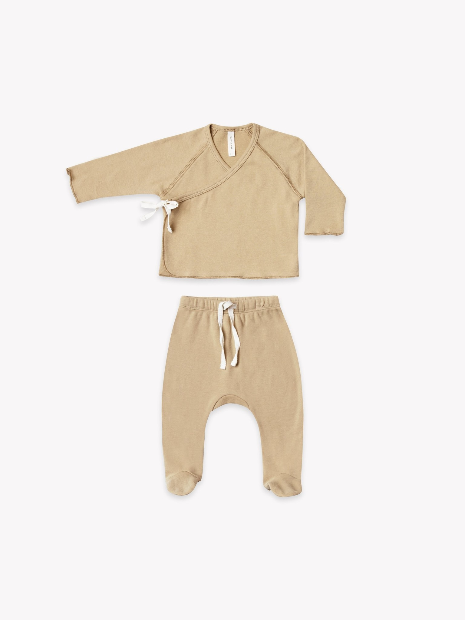 Quincy Mae Kimono Top + Footed Pant Set - organic brushed jersey (Honey)