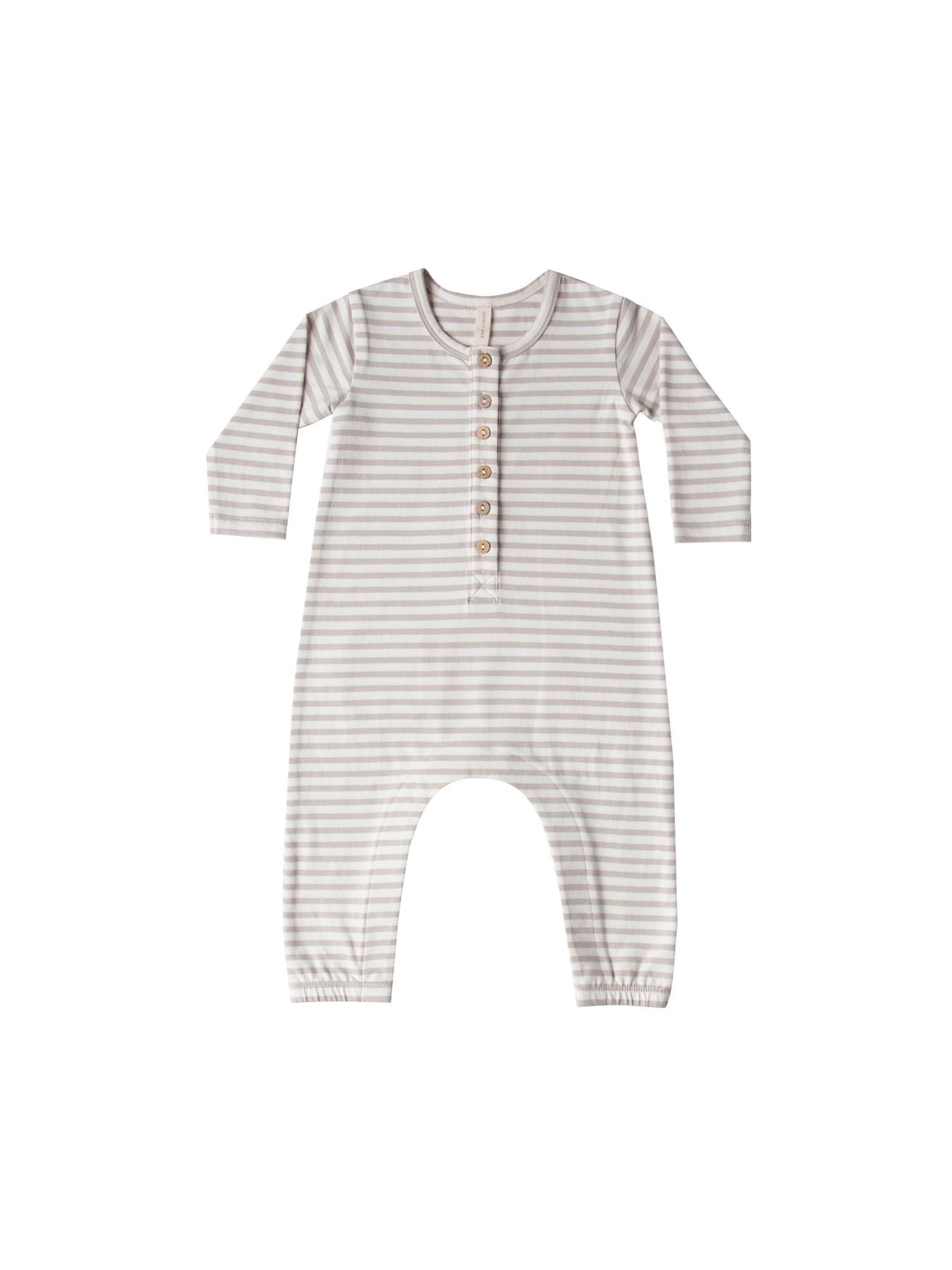 Quincy Mae Longsleeve Jumpsuit - organic brushed jersey (Fog Stripe)