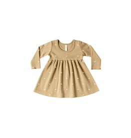 Quincy Mae Longsleeve Baby Dress - organic brushed jersey (Honey)