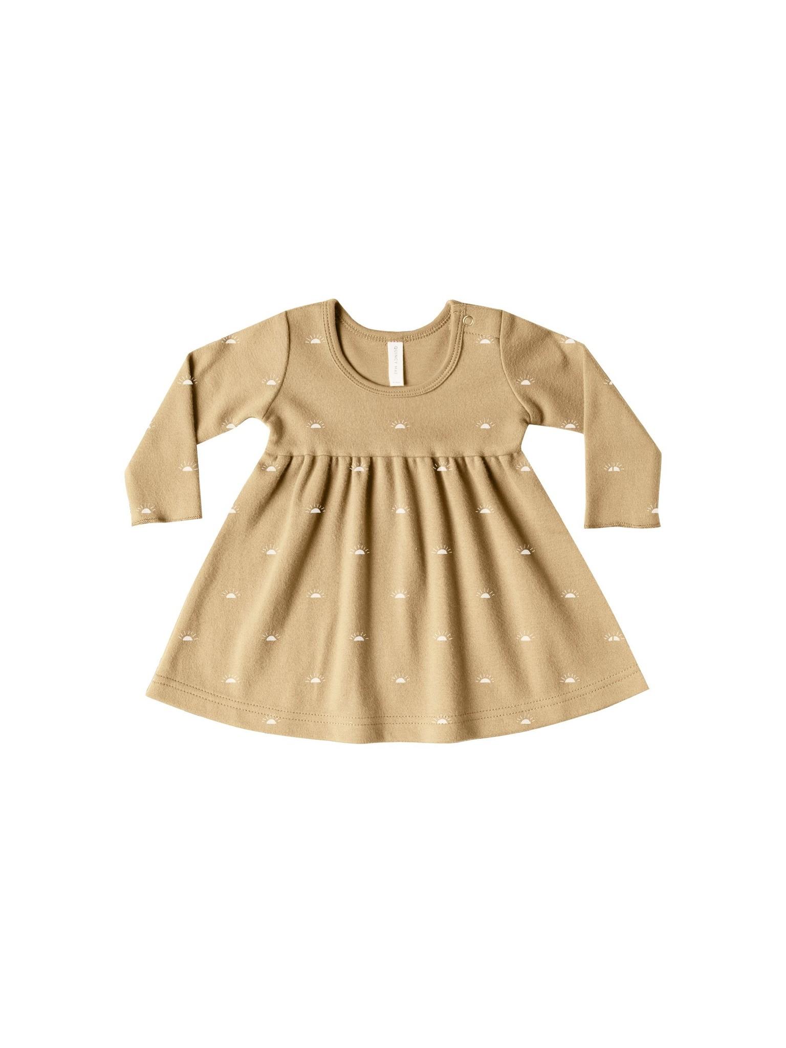 Quincy Mae Longsleeve Baby Dress - organic brushed jersey (Honey)