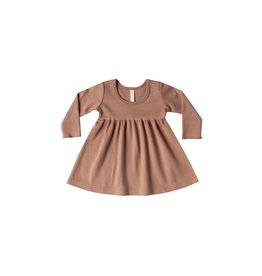 Quincy Mae Longsleeve Baby Dress - organic brushed jersey (Clay)