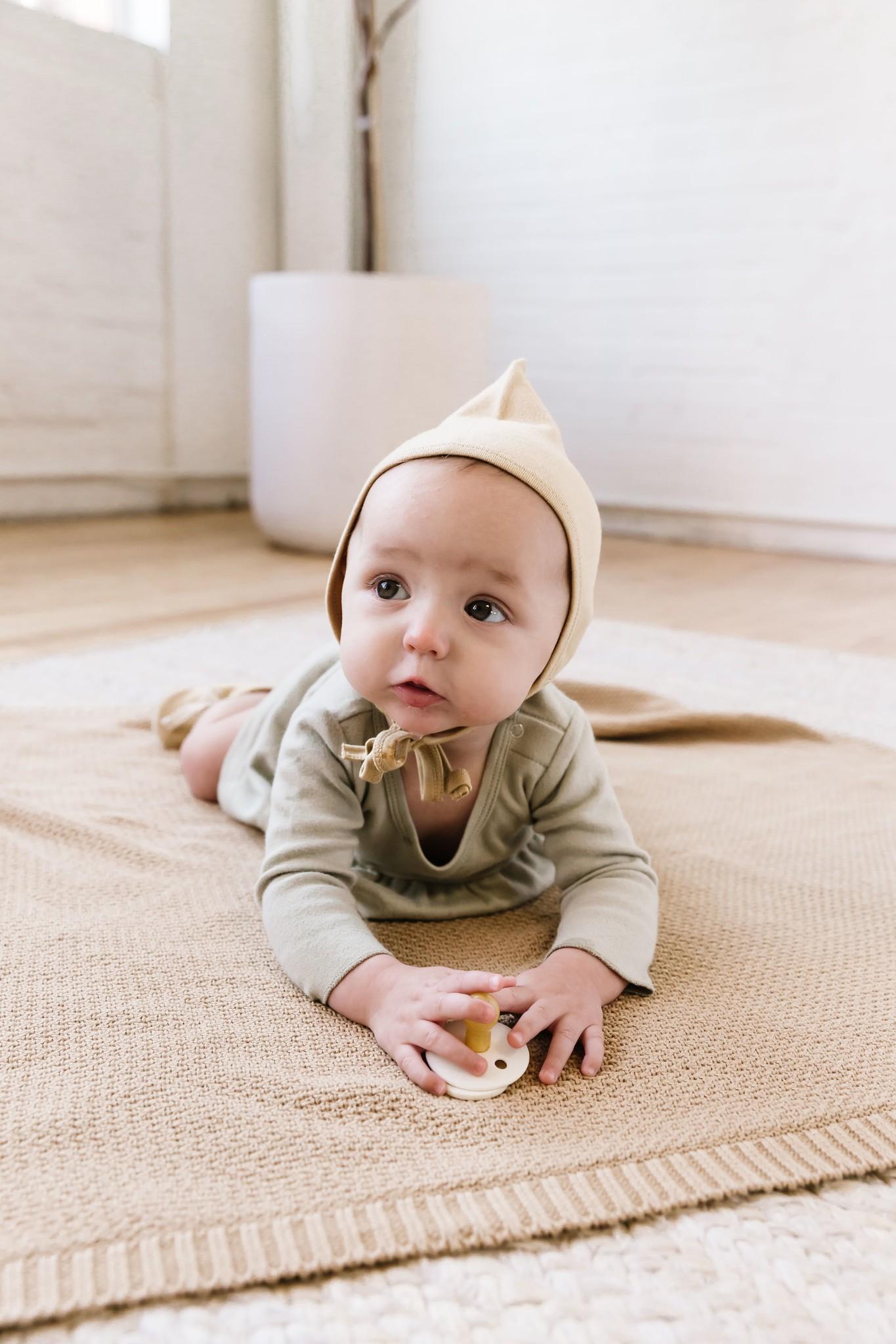 Quincy Mae Longsleeve Baby Dress - organic brushed jersey (Sage)