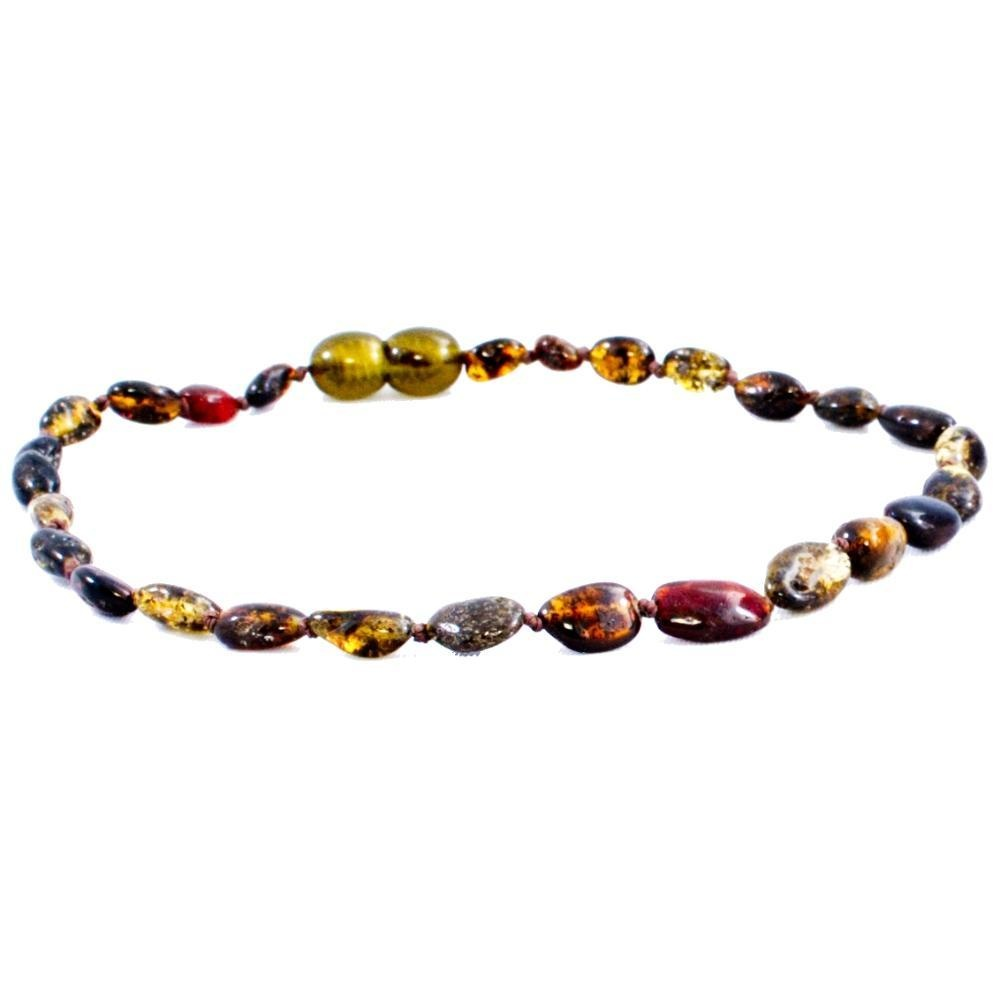 The Amber Monkey The Amber Monkey Baltic Amber 12-13 inch Necklace - Olive Bean (Raw/Screw Clasp)