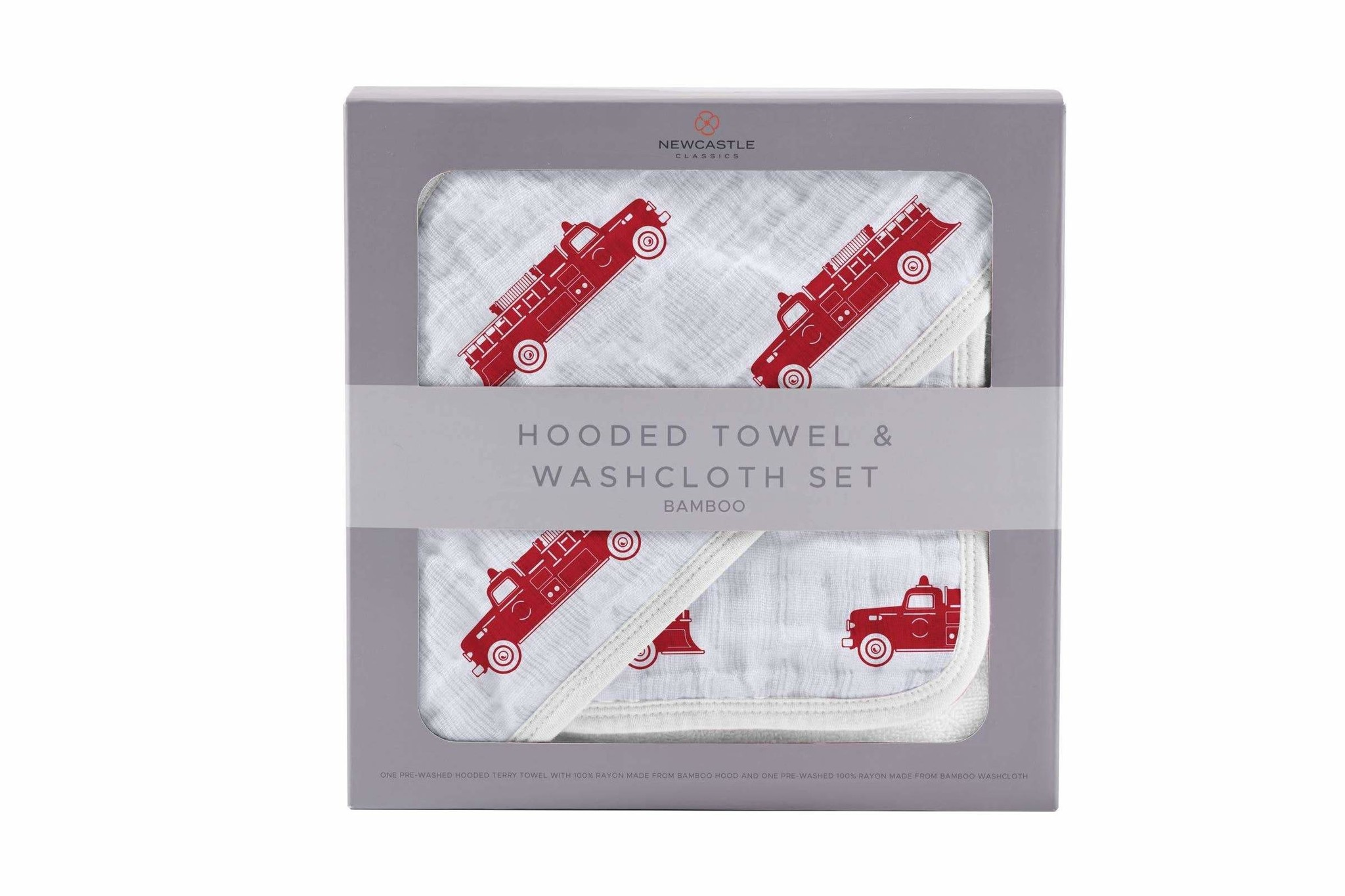 Newcastle Classics Fire Truck Bamboo Hooded Towel and Washcloth Set