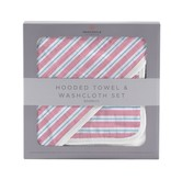 Newcastle Classics Candy Stripe Bamboo Hooded Towel and Washcloth Set