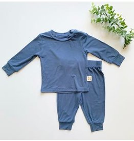 Kozi & Co Bamboo Essentials Long Sleeve PJ Set - Stone Blue