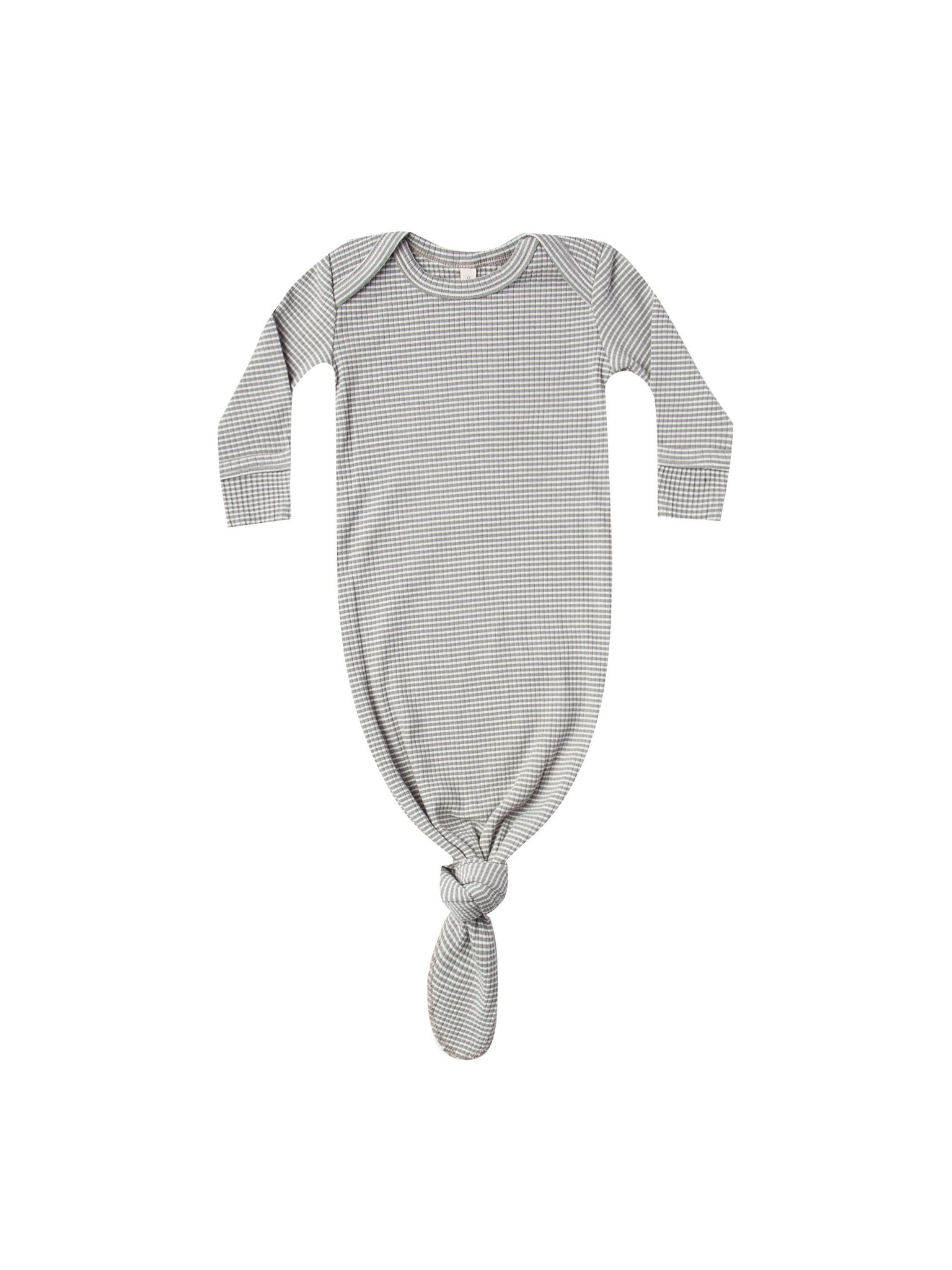 Quincy Mae Quincy Mae Organic Ribbed Jersey Knotted Baby Gown - Eucalyptus Stripe
