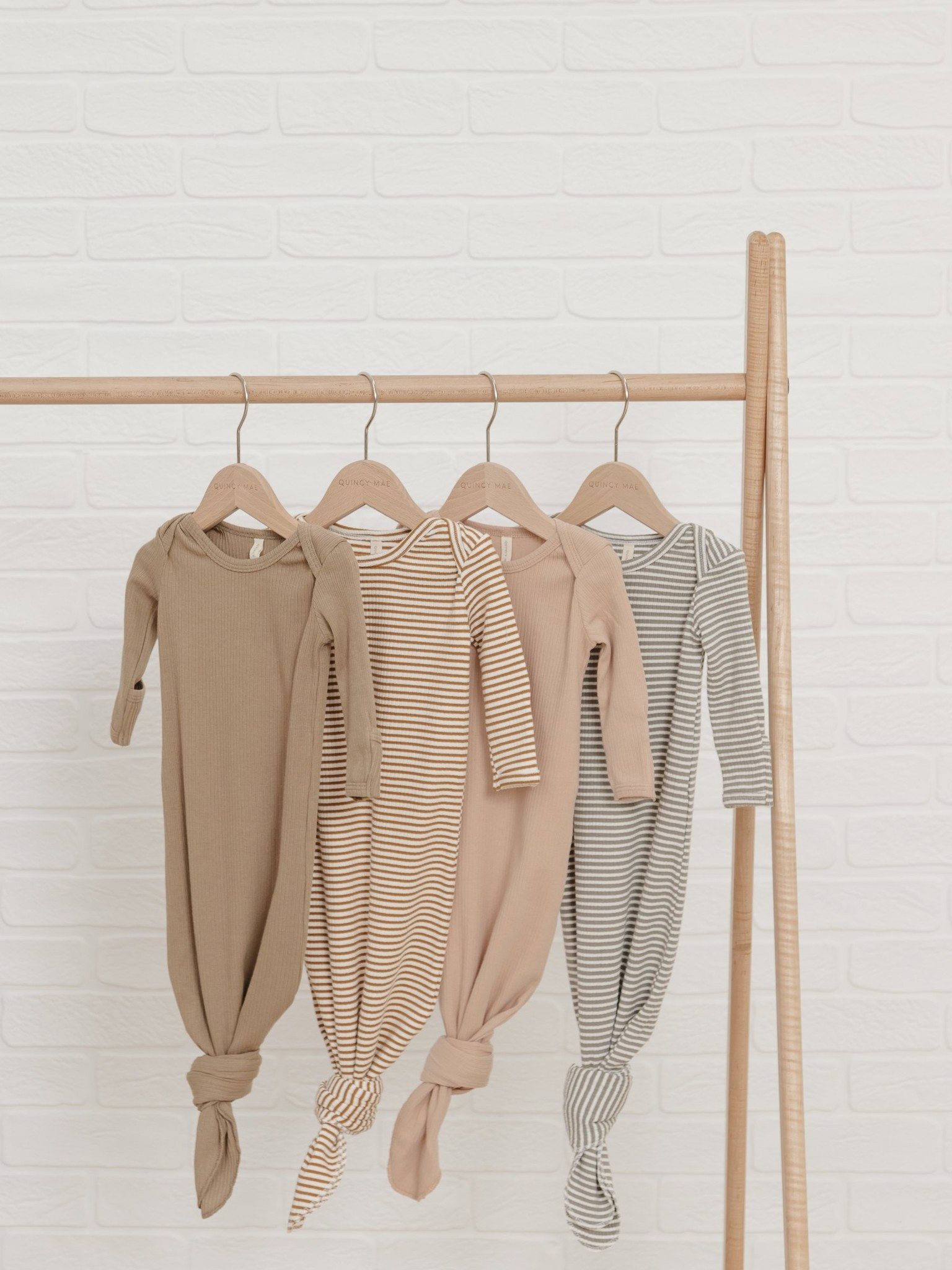 Quincy Mae Quincy Mae Organic Ribbed Jersey Knotted Baby Gown - Olive
