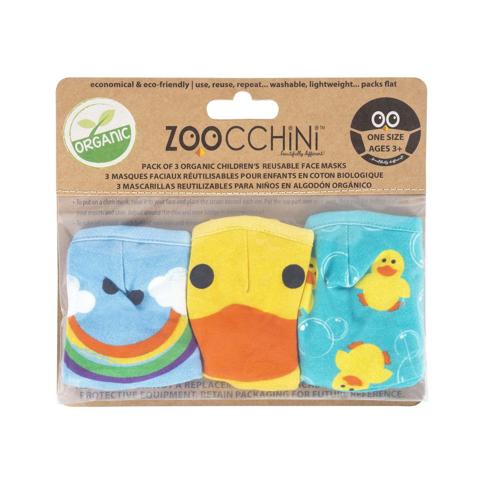 Zoochini Kids Organic Reusable Masks 3-pack (3 year+)