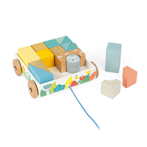 Janod Toys Pure Pull-Along Wooden Blocks Cart