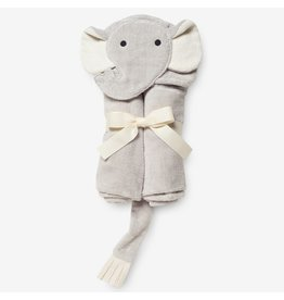 Elegant Baby Baby Bath Wrap Cotton Velour Hooded Towel - Gray Elephant (0-24 mo)
