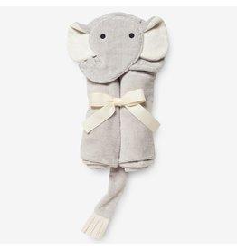 Elegant Baby Baby Bath Wrap Cotton Velour Hooded Towel - Gray Elephant (0-24 mo)