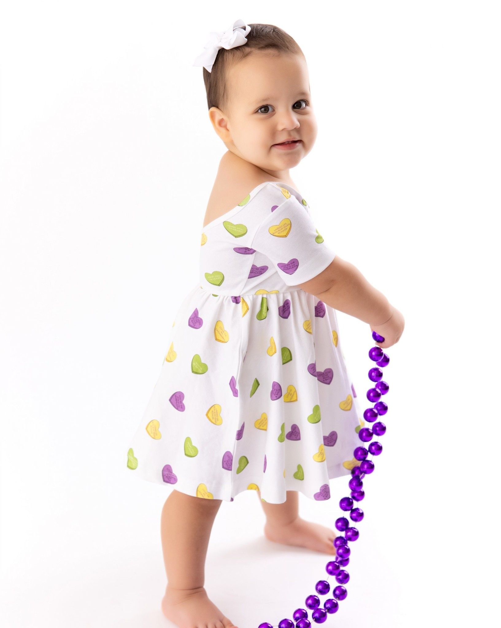 Nola Tawk Mardi Gras Sweet Hearts Organic Cotton Dress