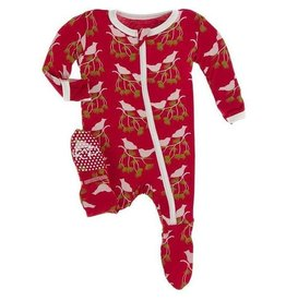 KicKee Pants KicKee Pants Zipper Bamboo Footie - Crimson Kissing Birds