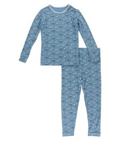 KicKee Pants KicKee Pants Long Sleeve Bamboo PJ Set - Blue Moon Hanukkah