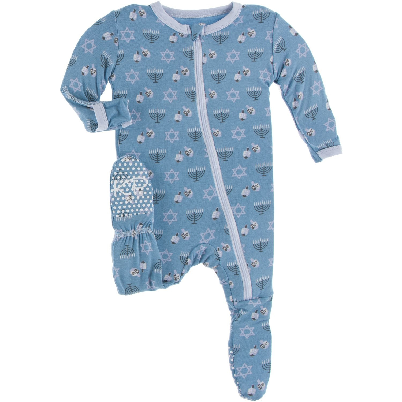 KicKee Pants KicKee Pants Zipper Bamboo Footie - Blue Moon Hanukkah