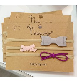 Baby Wisp Stretchy Suede Baby Bows 3 pack - Gray, Pink, Purple (3-12 mo)
