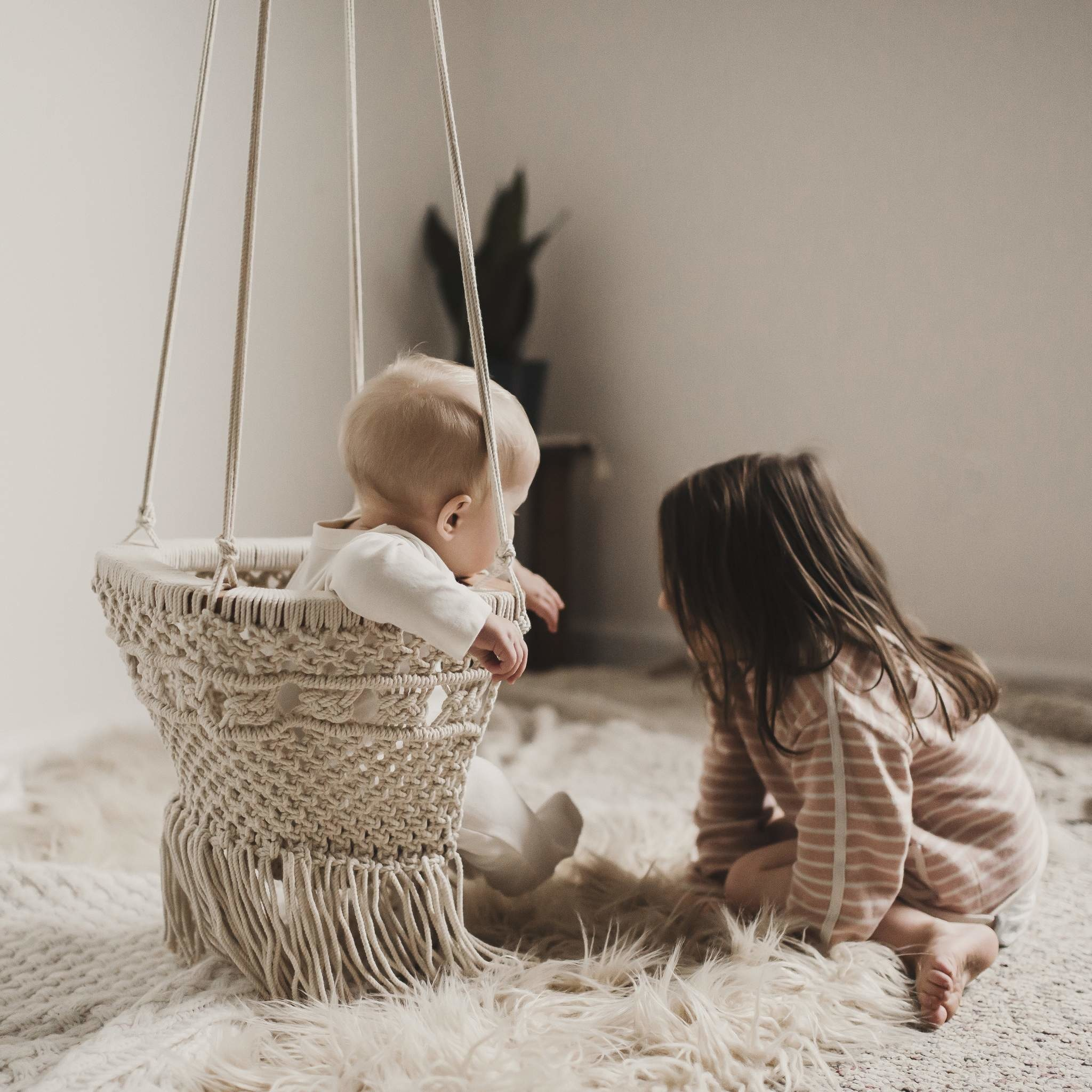 Finn + Emma finn + emma  Macrame Baby Swing - organic cotton
