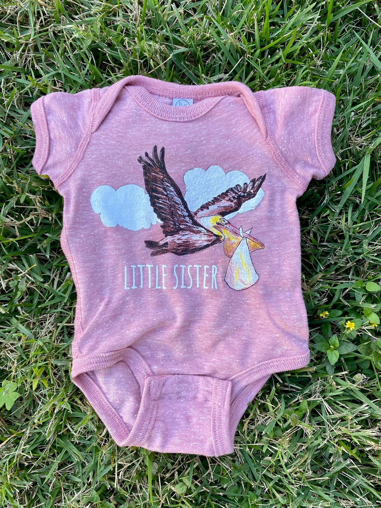 Two Sprouts Pink Pelican Little Sister Onesie