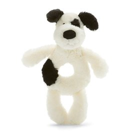 Jellycat Jellycat Bashful Puppy Soft Ring Rattle - Black and Cream