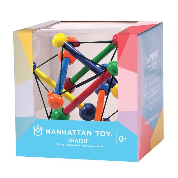 Manhattan Toys Skwish Classic Wood Rattle Teether Toy (Boxed)