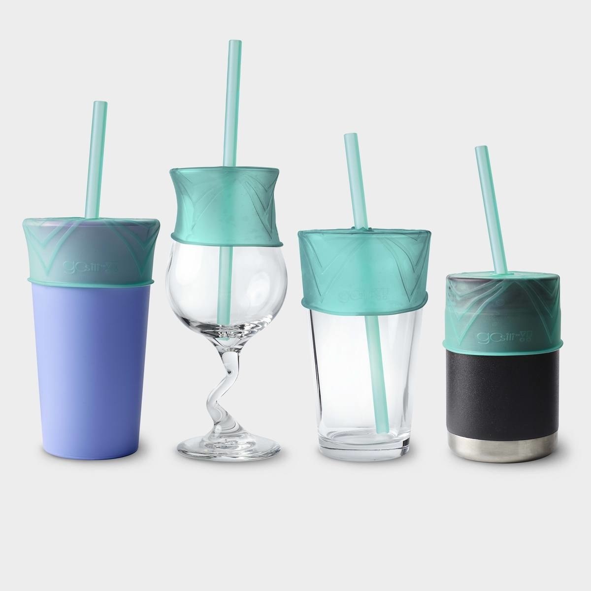 Silikids Universal Silicone Straw Lid + Straw with Case (Sea)