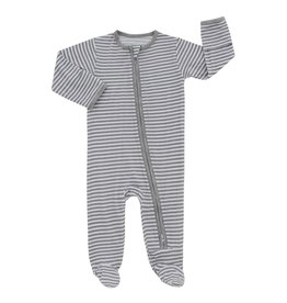 Emerson and Friends Grey Stripe Baby Bamboo Zipper Footie PJs