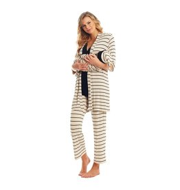Everly Grey Everly Grey Analise 5-Piece Mom & Newborn Baby PJ Set - Sand Stripe