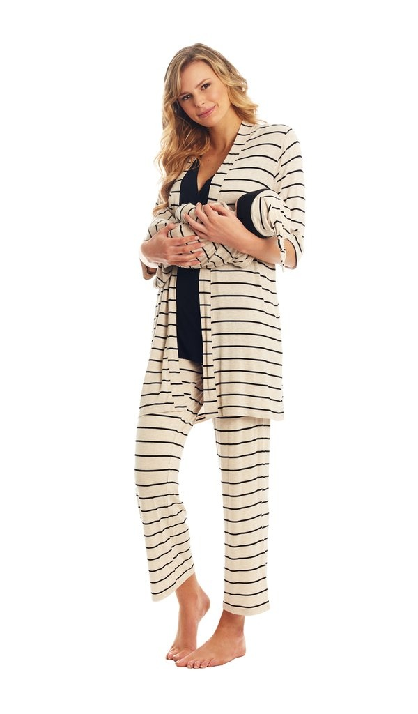 Everly Grey Everly Grey Analise 5-Piece Mom & Newborn Baby PJ Set - Sand Stripe