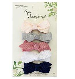 Baby Wisp Baby Snap Clip Bows - 5 piece set