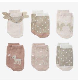 Elegant Baby Fawn Non-Slip Baby Socks 6 pk