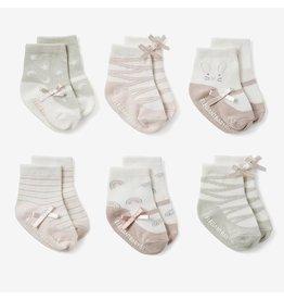 Elegant Baby Mary Jane Pink Non-Slip Baby Socks 6 pk (BOGO)