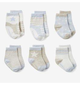 Elegant Baby Baby Blues Non-Slip Baby Socks 6 pk (BOGO)