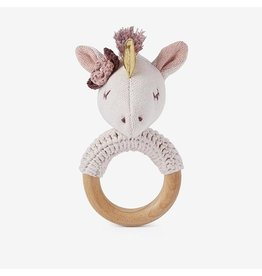 Elegant Baby Luna Unicorn Wooden Baby Rattle
