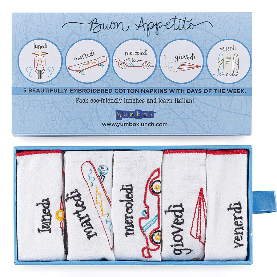 Yumbox Yumbox Reusable Embroidered Cotton Napkin Set (5 Weekly Napkins; Italian Days of The Week)