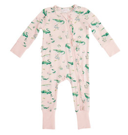 Angel Dear Gators Bamboo Zipper Romper - Pink