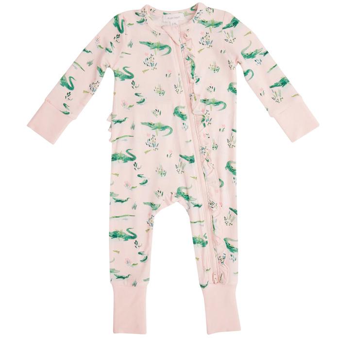 Angel Dear Gators Bamboo Zipper Romper - Pink