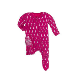 KicKee Pants KicKee Pants Footie with Zipper - Prickly Pear Mini Seahorses
