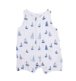 Angel Dear Nautical Boats Shortie Romper - Bamboo