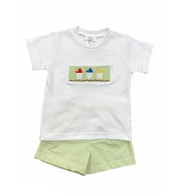 Lulu Bebe Snowball Toddler Short Set - Lime