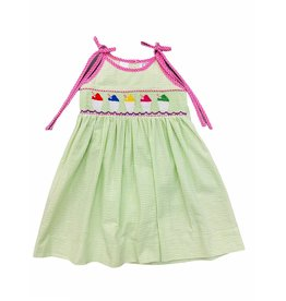 Lulu Bebe Snowball Smock Spaghetti Strap Toddler Dress - Lime Seersucker