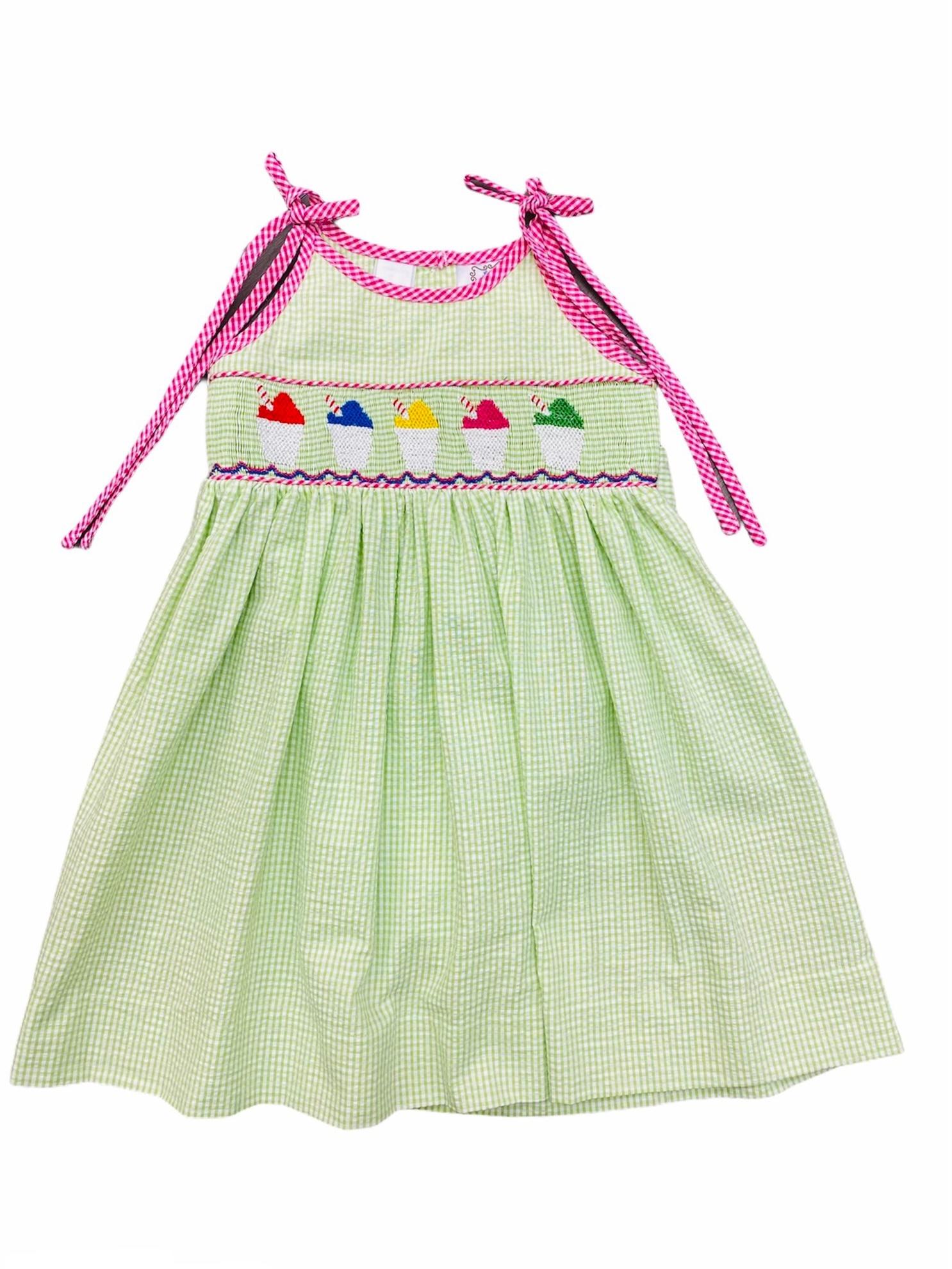 Lulu Bebe Snowball Smock Spaghetti Strap Toddler Dress - Lime Seersucker