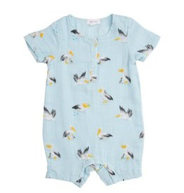 Angel Dear Pelicans Muslin Henley Shortall Blue