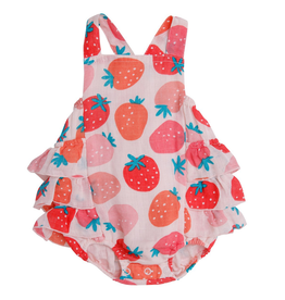 Angel Dear Strawberries Ruffle Sunsuit Pink -