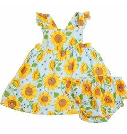 Angel Dear Sunflower Pinafore Top & Bloomer Whispering Blue -